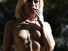 Gorgeous Blonde Chick Ash Hollywood Takes Her Clothes Off And Shows Off Her Breasts And Bootie Outdoors