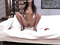 Dark Haired Parts Her Gams To Fuck Her Thirsty Fuck Crevice With Wand