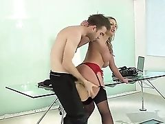Office Fucky-fucky With Brilliant Boded Huge-titted Cougar Leigh Darby