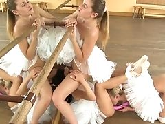 Uber-cute Ballerina Valerie Fox And Her Gfs Make Love In The Dance Studio