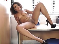 Curly Chick Kayla Louise Is Posing On The Table Before Sucking A Hard Pole
