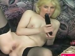 Blonde Cutie Masturbates With Big Fake Penis And Thumbs
