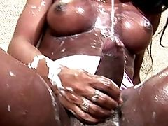 Thick Assed Black Tranny Gets Her Monster Cock Tugged Cummy