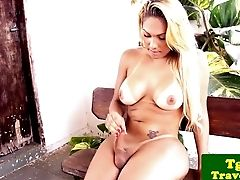 Bigtitted Latina Tgirl Jerking Outdoors