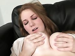 Ginger-haired With Giant Tits And Hairless Muff Gets Painted With Jism On Camera For Your Viewing Entertainment