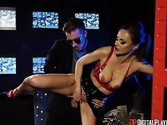 Salacious Cougar Tina Kay Fellates A Big Prick Sticking Out Of Pants And Gets Laid