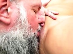 Dark-haired Pleases Mans Sexual Desires And Then Gets Covered In Fuckpole Juices