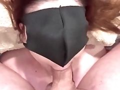 Masked Bottom Loves To Suck And Get A Pop-shot All Over Her Pretty Face!