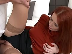 Bright Crimson Haired Cougar Luvs Having Dirty Clothed Lovemaking With Her Ex Bf