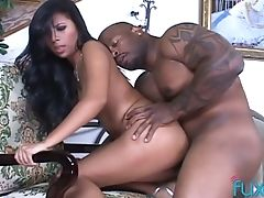 Exotic Looking Sexy Ultra-cutie Gets Her Unshaved Snatch Drilled By Big Black Cock Possessor