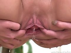 Housemaid In Stockings And Brief Uniform Jenny Simons Pisses And Masturbates