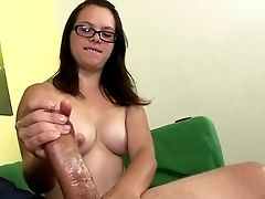 Buxom Teenager First-timer In Glasses Jerking Meatpipe