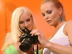 Blonde Silvia Saint And Stacy Silver Spread Their Gams Gams Broad For Each Other And Have Girl-on-girl Joy