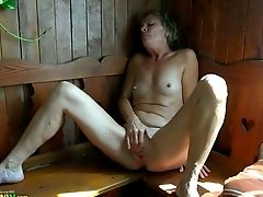 Horny Granny With Plane Tits Fingerblasting Her Twat In Sauna