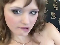 Ultra-cute Brown-haired Nancy Strokes Her Clean-shaved Cunny