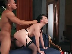 Milky Mummy In Spandex Dana Dearmond Gets Intimate With Youthful Black Dude Drooling On Her