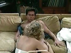 Sweet Old-school Milky Blondie On The Couch Fellates Big Dick