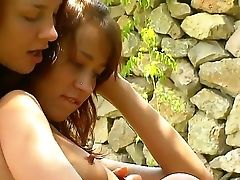 Two Youthful Honies Who Like Nature Very Much Natasha And Vika Are Masturbating On A Grass